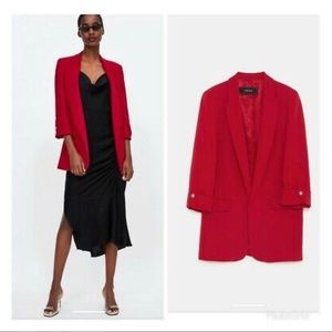NWT Zara Red open front blazer 3/4 sleeves. Small